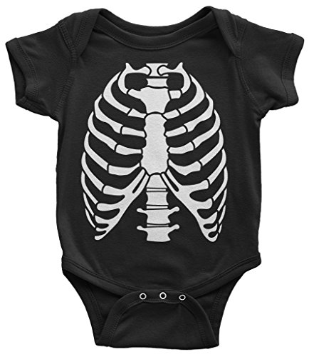 Rib Cage Bones - Threadrock Baby Skeleton Rib Cage Halloween Costume Infant Bodysuit 6 Months Black