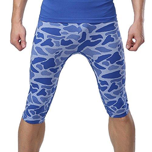 Prettywell Mens Sports Compression Quick Dry Tight Shorts MA-35 (M, Blue)