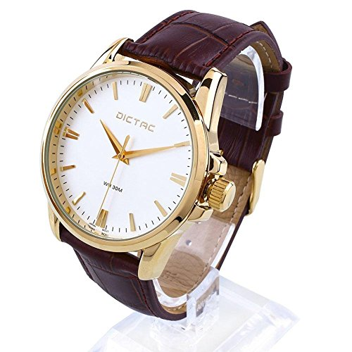 Dictac Wristwatch Male Analog Quartz Golden Round Dial Classic Leather Watch (Leisure Suits For Sale)