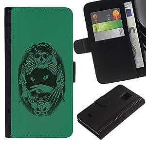 Paccase / Billetera de Cuero Caso del tirón Titular de la tarjeta Carcasa Funda para - Green Cat Death Bones Skeleton Black - Samsung Galaxy S5 Mini, SM-G800, NOT S5 REGULAR!