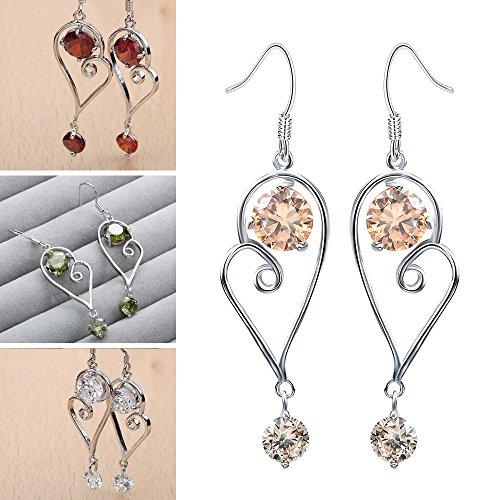 Smile YKK Fashion Chaîne D'oreille Boucles Cristal Plaqué Argent 925 Beauté Design Elégant Rose