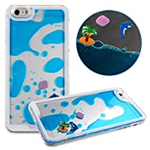 iPhone 6 Case, SwiftBox Flowing Liquid Hard Case for iPhone 6 + 0.3mm Tempered Glass Screen Protector + Owl Phone Strap (Blue Dolphin)