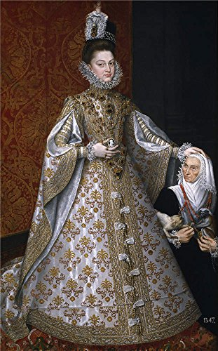 Oil Painting 'Sanchez Coello Alonso Isabel Clara Eugenia And Magdalena Ruiz Ca. 1586' 24 x 39 inch / 61 x 98 cm , on High Definition HD canvas prints, gifts ()