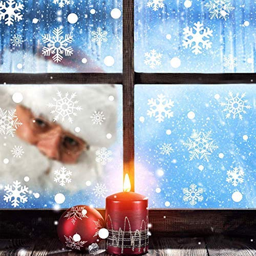 OUBARDE 348pcs Christmas Snowflakes Window Clings Decal Stickers - Xmas Holiday White Clings Window Stickers - Removable Reusable Winter Wonderland Decorations Ornaments Party Supplies (6 Sheets)