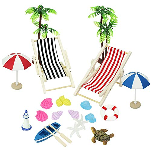 BUZIFU Dollhouse Decoration 20pcs Beach Style Miniature Ornament Kits Set for DIY Fairy Garden Dollhouse and Plant Decoration by Shellvcase from BUZIFU