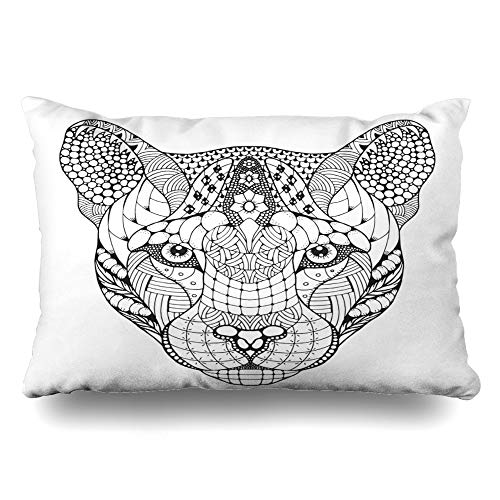 (Ahawoso Throw Pillow Cover Queen 20x30 Drawing Zentangle Cougar Mountain Lion Panther Head Abstract Face Totem African American Beast Design Zippered Cushion Pillow Case Home Decor)