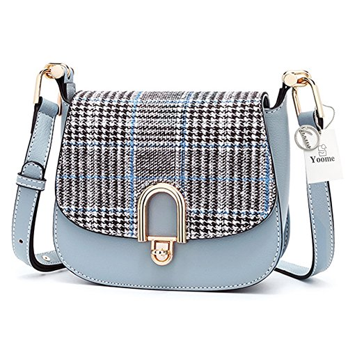 Yoome Hit Color Women Shoulder Bag with British Style Plaid Saddle Bag Purse
