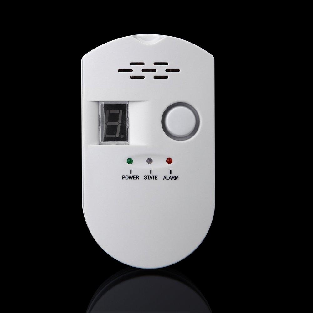 SODIAL Sensitive digital display flammable pipe alarm gas detector gas detector kitchen monitoring sensor US Plug by SODIAL (Image #4)