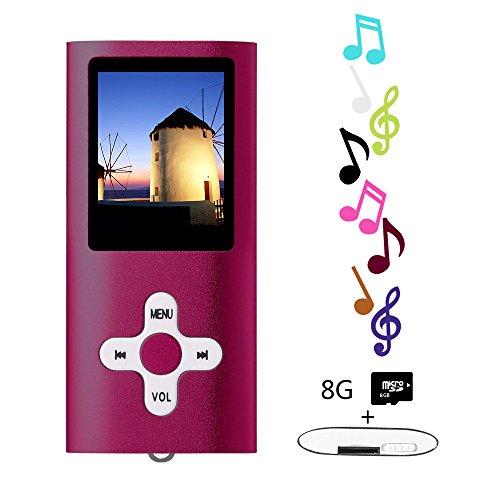 Btopllc Lecteurs MP3 8 Go Lecteurs MP3 MP4 Lecteur MP3 / MP4 Entrée audio numérique Compact Music Music Hi-Fi Lecteur MP3 Media Player (rouge)