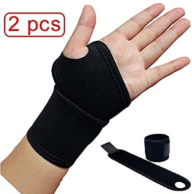 SPJ: Elastic Palm Wrist Compression Set of 2 Supporters Sleeve Hand Support Guards Pain Carpal Tunnel Tendonitis