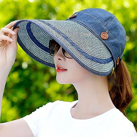 Hyun times Sun visor summer sunscreen folding outdoor bike beach anti-UV straw hat ( Color : Denim blue (The Middle Season 1 2 3 4)