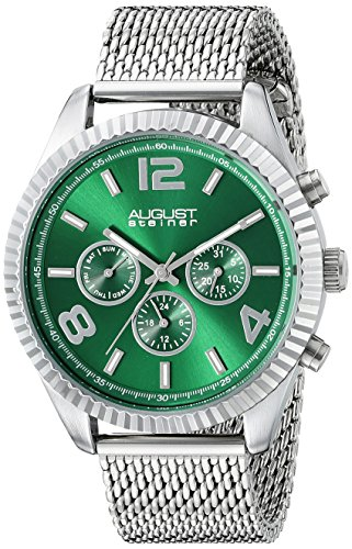 August Steiner Men's AS8196GN  Round Green Radiant Sunburst Dial Two Time Zone Quartz Bracelet Watch
