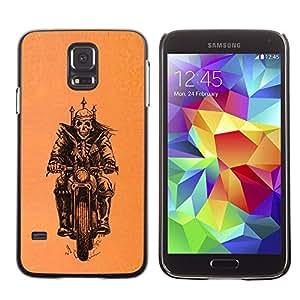 Ihec Tech Motorista de la motocicleta Cráneo anaranjado Corona / Funda Case back Cover guard / for Samsung Galaxy S5
