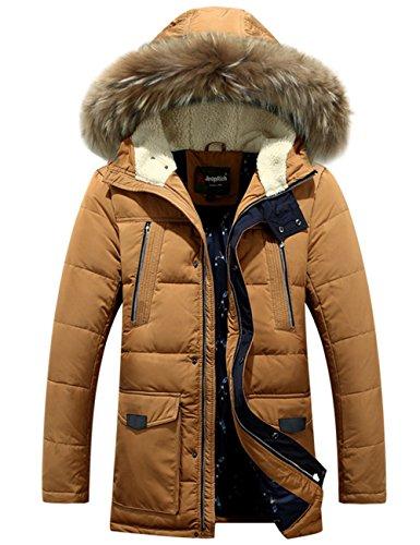 Menschwear Herren Winter Warme Jacke Daunenjacke Daunenjacke mit abnehmbarem Pelzkragenskapuze schlanke Passform (M,Brown)