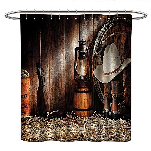 Anshesix Western Decor Collectionhookless Shower curtainAuthentic Gear Straw Hat ATOP Genuine Leather Boots and Kerosene Oil Lantern LampColor Shower curtainDark Brown