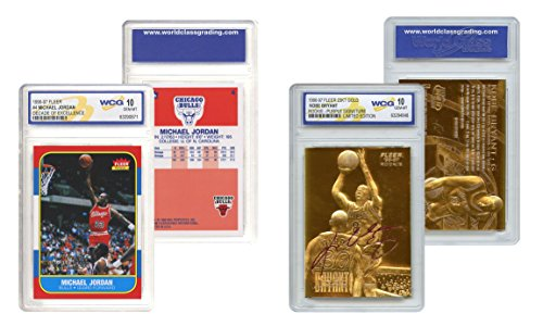 KOBE Bryant Gold & Michael JORDAN Decade Fleer Rookie Cards Set - Graded Gem 10 - Michael Jordan Set