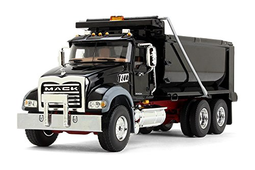 First Gear 1/50 Scale Diecast Collectible Black with Red Chassis Mack Granite Dump Truck (50-3386)