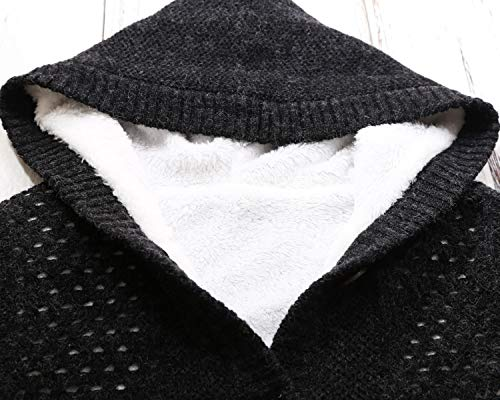 Sidefeel Women Hooded Sweater Cardigans Button Knit Coat Outwear XX-Large Black by Sidefeel (Image #2)