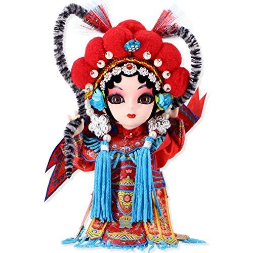 "JG.Eshadoll Chinese Folk Art Peking Opera Adorable Silk Figure Mu Guiyin Silk Souvenir Gift (Red-MuGuiYing, 5"")"