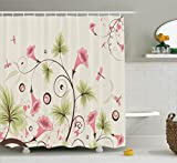 Ambesonne Country Decor Collection, Cup Shaped Romantic Swirling Pastel Colored Vibrant Flowers and Mature Dragonflies Print, Polyester Fabric Bathroom Shower Curtain Set with Hooks, Pink Beige