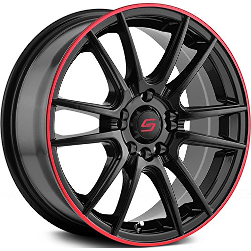 Sacchi S77 Black Wheel with Outer Red Ring (18×7.5″/5×3.94″, +40mm offset)