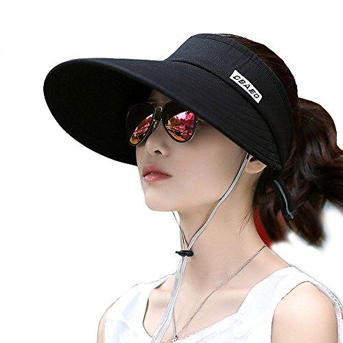 KJAHSLK Women's Summer Beach Sun Hat UV Protection Wide Brim Visor (Black 2) by KJAHSLK (Image #1)