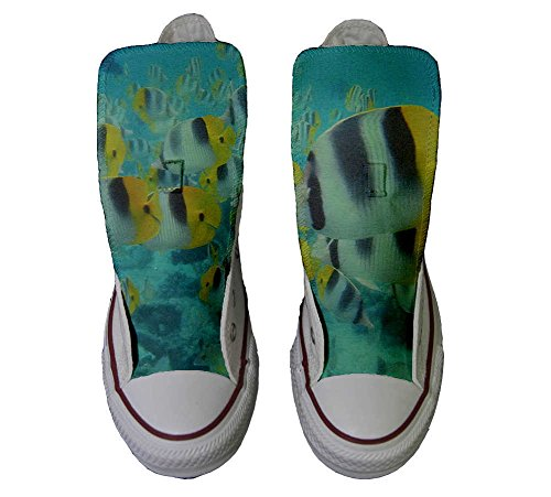 Converse Customized Chaussures Personnalisé et imprimés UNISEX (produit artisanal) poissons colorés - size EU41