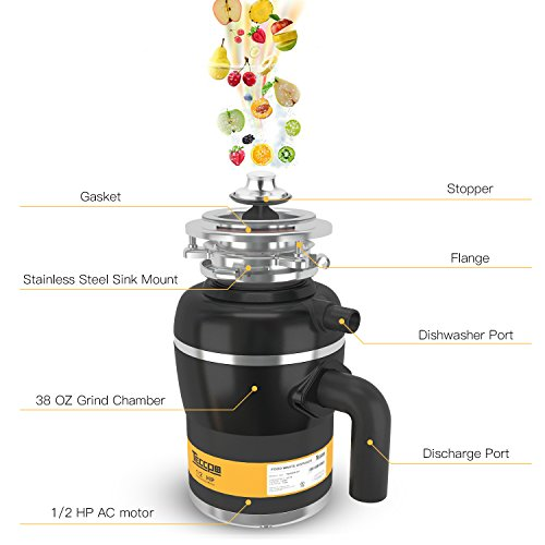 Garbage Disposal TECCPO 1/2 HP Disposal 38 oz. Capacity with Power Cord - TAGD01P by TECCPO (Image #1)