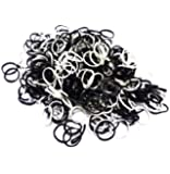 ETHAHE 1200pcs Mix of White& Black Latex-free Loom Refill Rubber Bands with 48 S-Clips