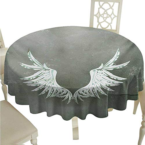 Grunge Elegant Waterproof Spillproof Polyester Fabric Table Cover Old-Fashion Coat of Arms Wings in front of Cracked Dirty Wall Royal Insignia Design Runners,Gatsby Wedding,Glam Wedding - Taffeta Iridescent Coat