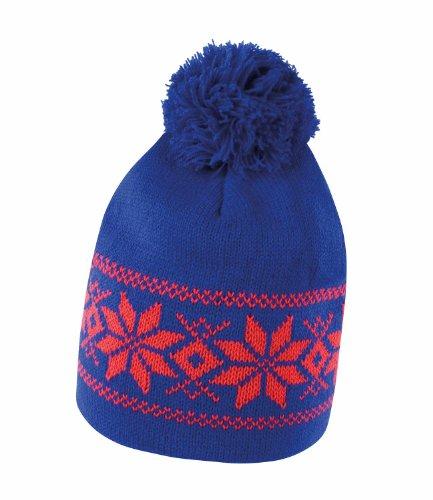 Result - Gorro de punto con dibujo para invierno Royal Blue / Red