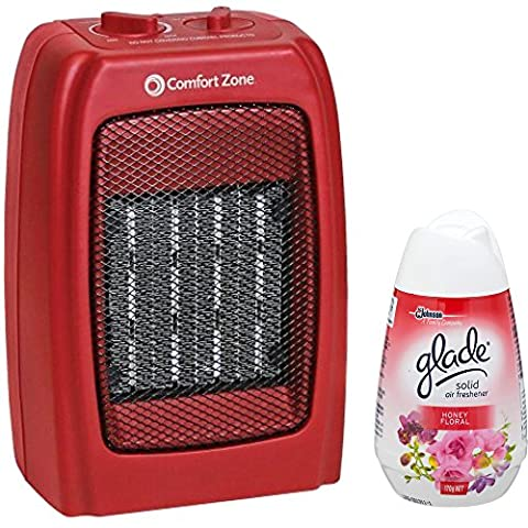 Comfort Zone Powerful Compact Adjustable Thermostat Safety Electric Ceramic Table Desk Fan Heater, Red with Air Freshener