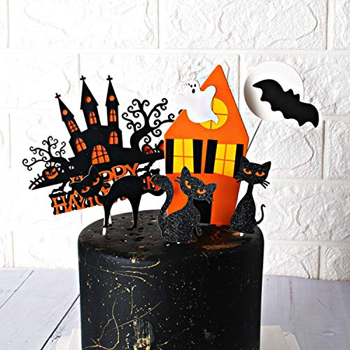 Halloween Graveyard Food (Halloween Cupcake Toppers Set, Haunted house and Cat Paper Cupcake Decorations for Cupcake Dish Decoration Party Supplies, Baby Shower Food Picks Decor, Cupcake Halloween Party)