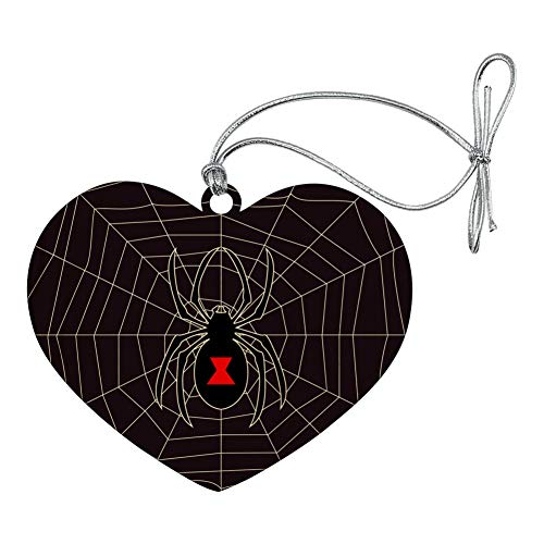 GRAPHICS & MORE Black Widow Spider on Web Heart Love Wood Christmas Tree Holiday Ornament ()
