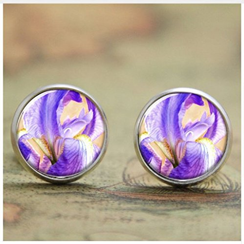 - Iris earring ,Violet blue orange white flower earring, glass Photo art Jewelry earring