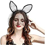 zher-lu women rabbit cat ears headband,sexy lace headband, cat ear headband with veil hair