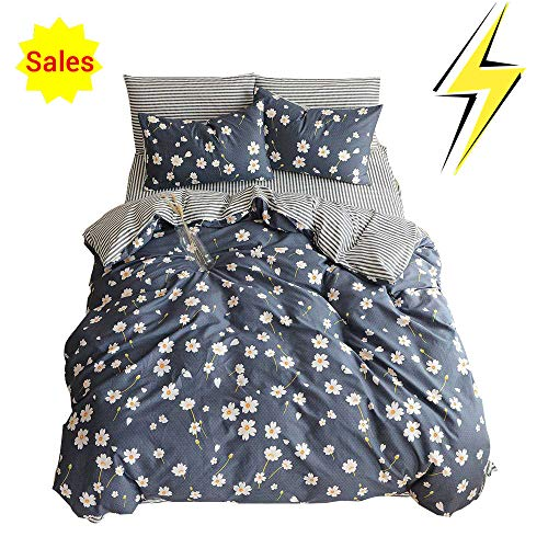 OTOB Cotton Girls Floral Teen Bedding Sets Full Size with 2 Pillow Shams Flower Striped Queen Duvet Cover Set for Kids Adults Women Student White Navy Blue Reversible, Queen/Full