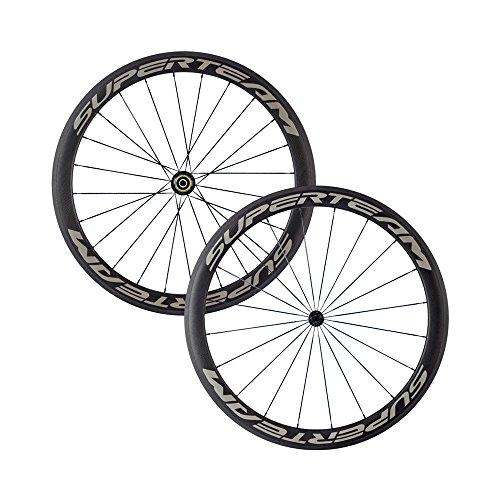 SUPERTEAM 700C 50mm 23 width 3k Matte Carbon Fiber Clincher & Tubular Cycling Road Bike Wheelsets 20/24h