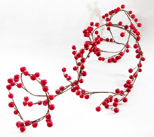 ( 6 Feet of Beautiful Colored Shiny Red Berry Wired Garland for)