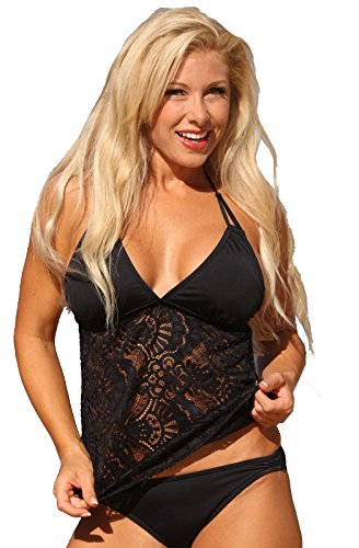 36f58530634 UjENA Festival Open Back Black Tankini - Top Only: Large