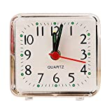 Hattfart Ultra Small, Battery Travel Alarm Clock with Snooze and Light, Silent with No Ticking Analog Quartz (White)