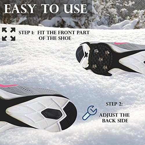 Perfect Life Ideas Ice Grippers Cleats for Shoes and Boots - 2 Pack Anti Slip Shoe Grip Crampons Spikes for Snow and Ice Make Winter Walking Safer and Provide Stability for Both Men and Women
