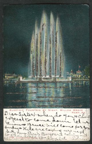 Electric Fountain by Night Willow Grove Park PA postcard - Pa Grove Willow Park