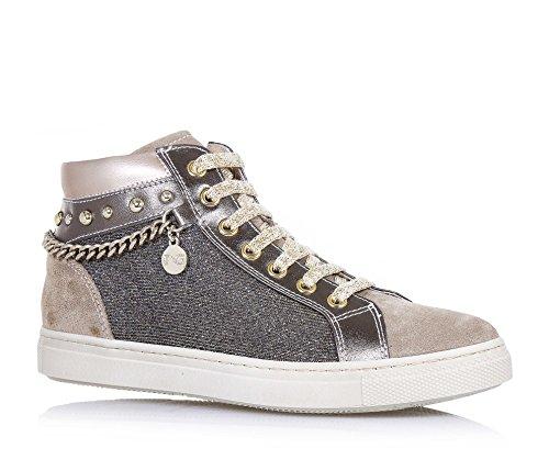 NERO GIARDINI - Beige Schuh mit Schnürsenkeln, aus Wildleder, Stoff und Glitzern, seitlich ein Reißverschluss, seitlich ein Logo, Lederapplikationen, Mädchen, Damen