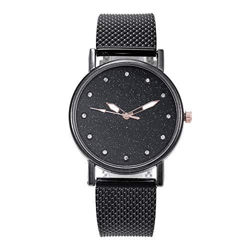 LUXISDE Watch Women Fashion Luxury Inlay Diamond Starry Dial Quartz Silicone Tape Ladies Watch Black