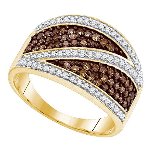 (Brown Diamond Fashion Band 10k Yellow Gold Stripe Cocktail Band Chocolate Cluster Style Fancy 3/4 ctw)
