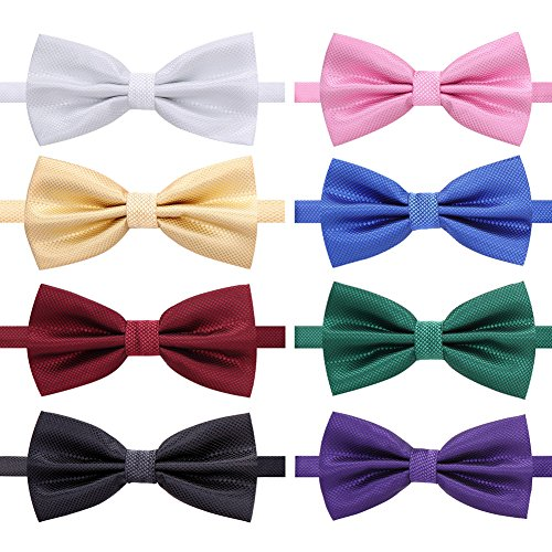AUSKY 8 PACKS Different Color Elegant Adjustable Pre-tied bow ties for Men Boys -