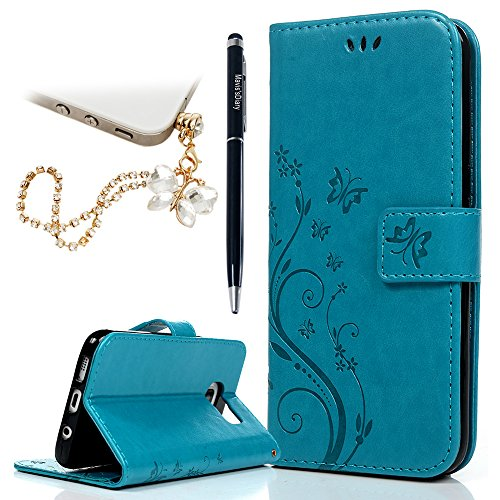 Galaxy S7 Edge Wallet Case - Mavis's Diary Fashion Floral Butterfly Embossed PU Leather Magnetic Flip Cover Card Holders & Hand Strap for Samsung Galaxy S7 Edge with Bling Dust Plug & Pen - Blue (Best S7 Edge Wallet Case)