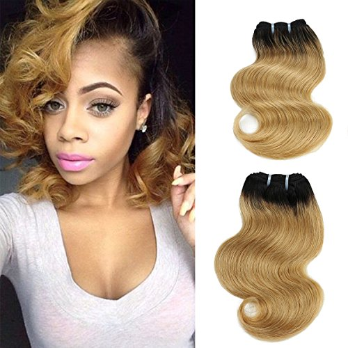FASHION LINE 4 Human Hair Bundles with Lace Closure Bob Ombre Two Tone Brazilian Hair Extensions Short Body Wave Weft Weave (4 bundles, 1b/27 Natural Black to Honey Blonde) ()