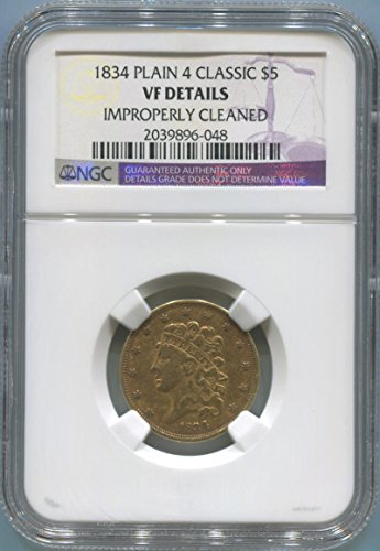 1834 P $5, Gold (Pre-1933) VF Details NGC